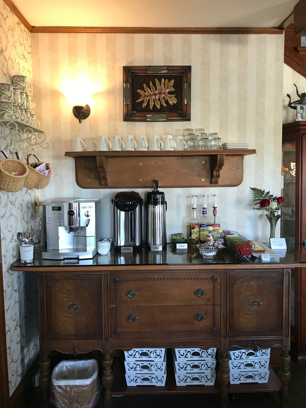 My favorite spot at the inn: the beverage station