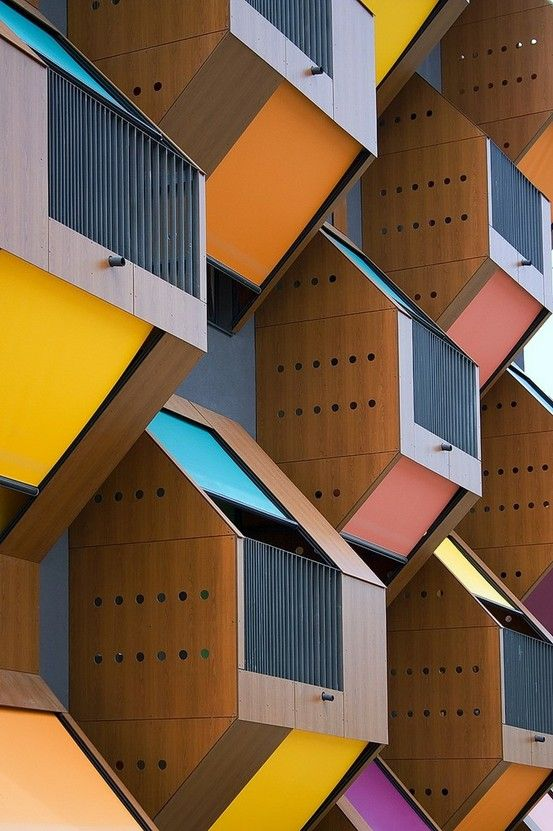 "The colourful ""Honeycomb"" apartments built by OFIS arhitekti in Izola,   Slovenia   2006."