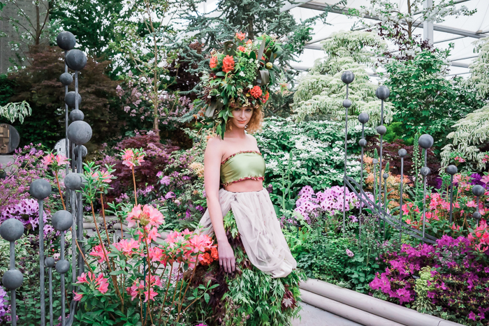 Katherine at Chelsea Flower Show 2015 modelling our floral head dress and dress.