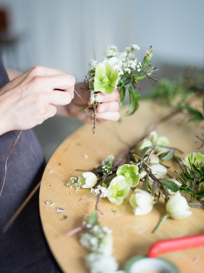 Sarah making a floral crown