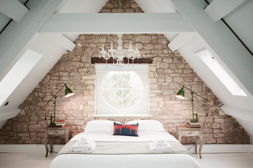 bedroom with vaulted ceiling | Cheltenham, UK