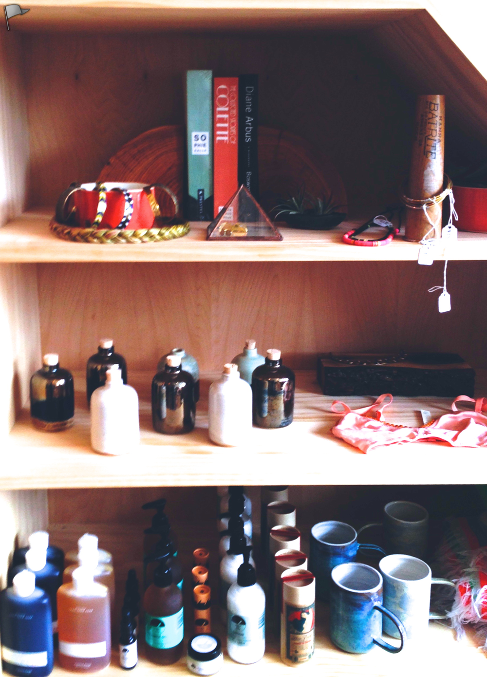 Juniper Ridge, Earth Tu Face, Object and Totem, Rachel Comey. Shelving by Marvin Freitas
