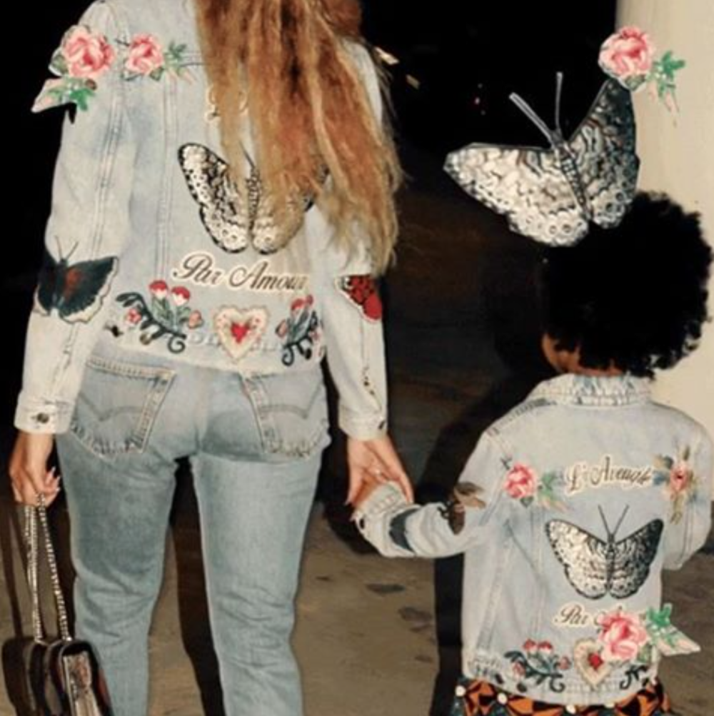 Bey and Blue Ivy rocking embroidered Levi's truckers. image source:  @beyonce