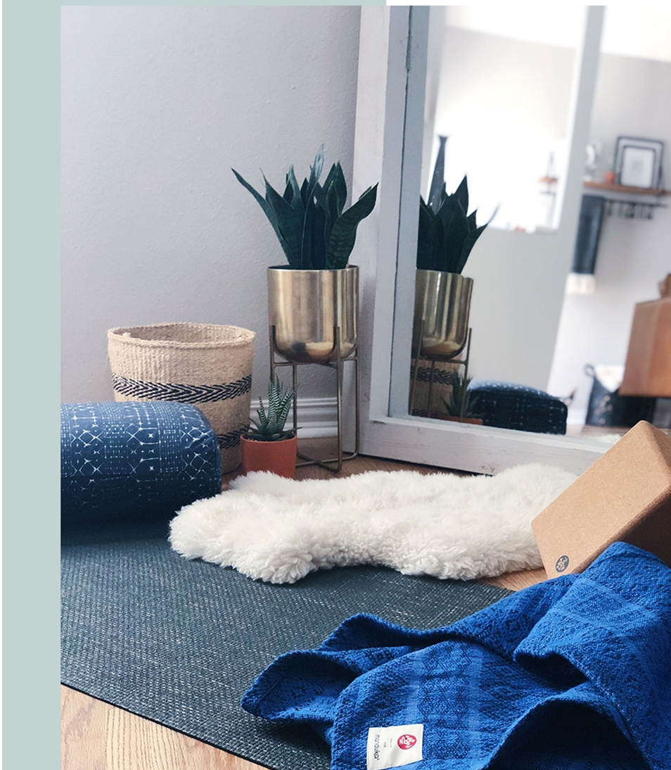 Practice Om? Practice on and on. - Create a permanent place for your home practice with coordinating and luxurious products from Manduka Yoga's home collection.