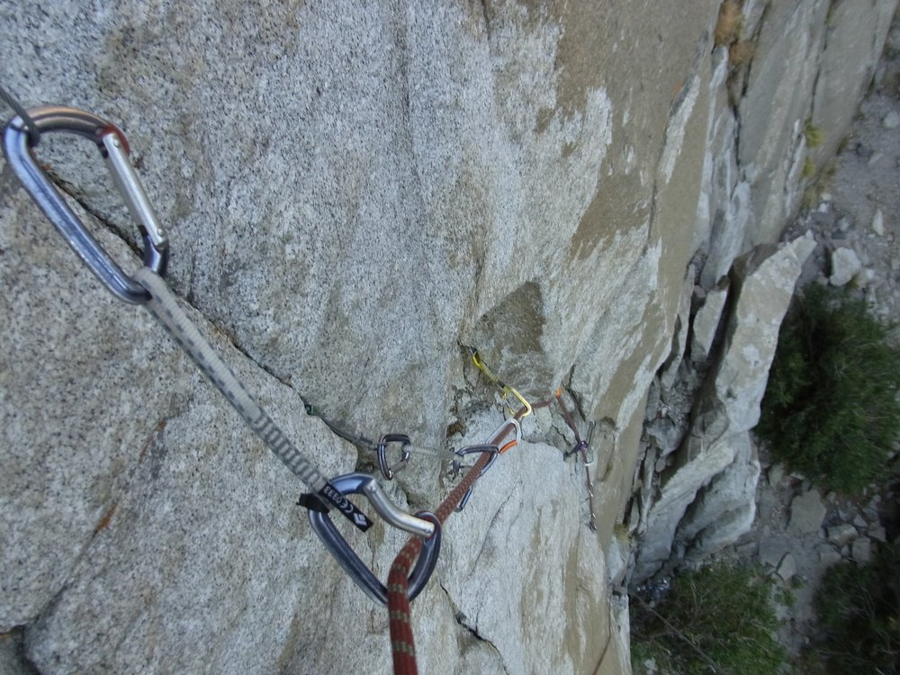 Looking down a practice aid pitch on El Cap