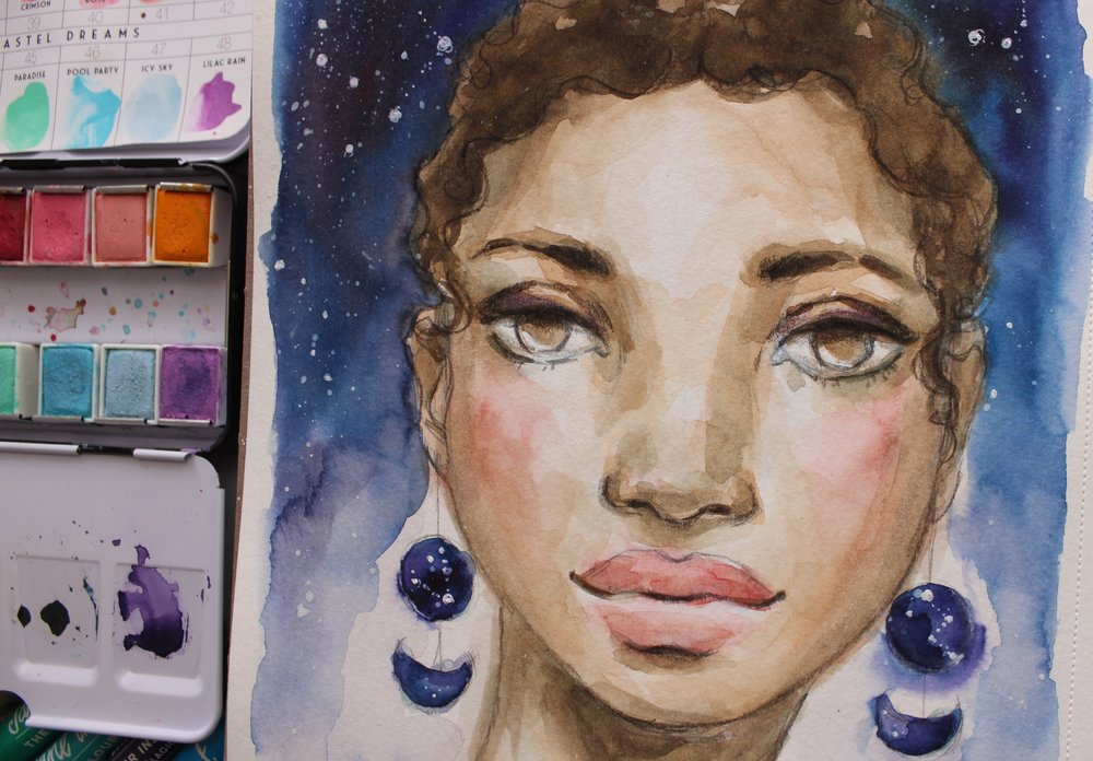 Lesson 2: Moon Flower - The Moonflower blooms underneath a starry night and was the inspiration for lesson 2.  In this lesson we will mix a simple skin tone, create a night sky with Mermaid Markers, and learn to build beautiful dreamy layers.