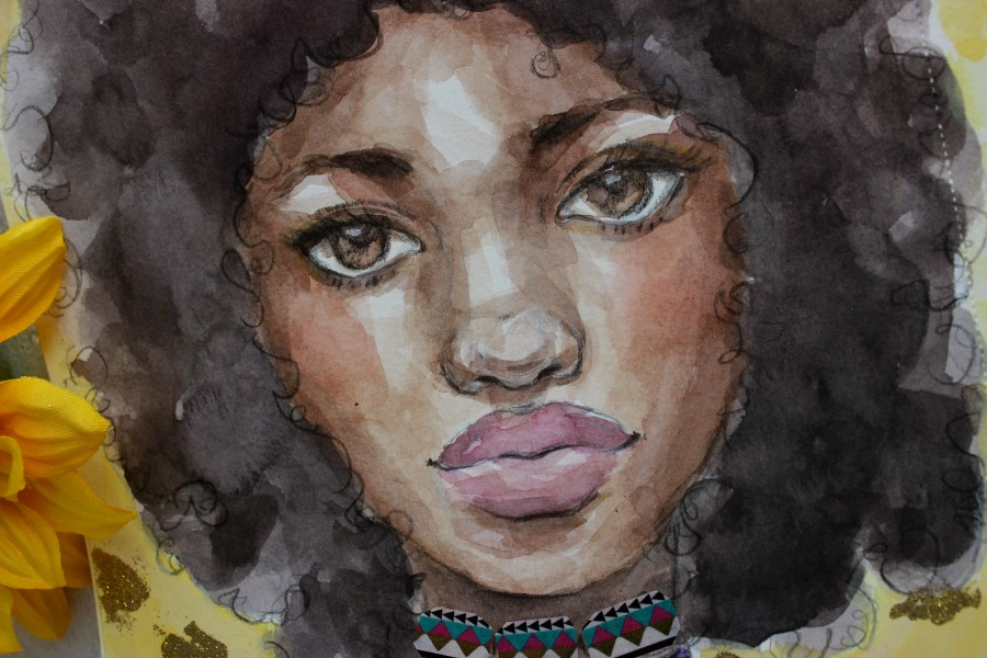 Lesson 4: Golden Dreams - In our last, lesson we will push our painterly skills to the limit.  I will show you that watercolors are not scary and you can create the most awesome afro of your dreams!  We will play with washi tape, embossing powder, and more.