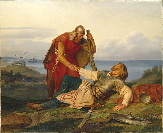 Örvar-Oddur kveður Hjálmar, fóstbróður sinn, í hinsta sinn.