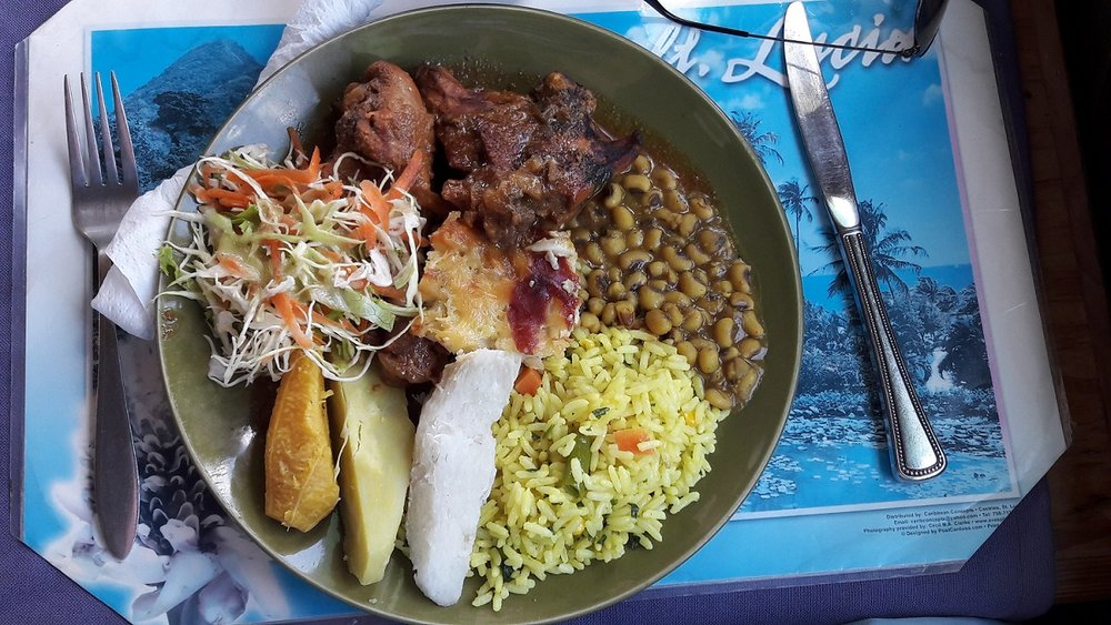 To say that we were well fed on the trip is an understatement. We frequented numerous local establishments and were rewarded with a true taste of the Caribbean. On offer here at a kabawé  - creole yard fowl, yam, plantain, rice and peas, coleslaw, and macaroni pie