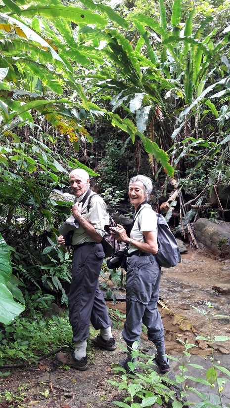 Jade and Keith in the rain forest in Trinidad