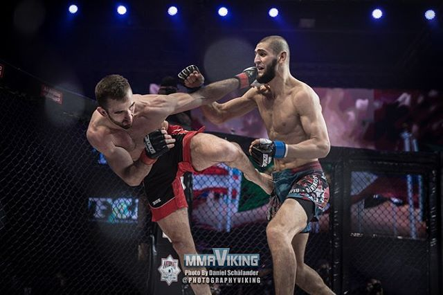 """Khamzat """"Borz"""" Chimaev wins at Brave 18 against a very tough undefeated opponent! 🐺 we are very proud of you @khamzat_chimaev 🏆 Photo by @photographyviking for @mmaviking, check out the full fight gallery there 📸"""