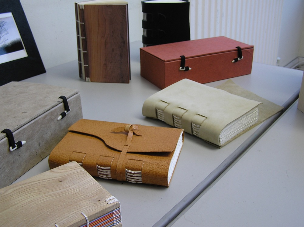 Books and boxes from a short course on bookmaking at West Dean College.