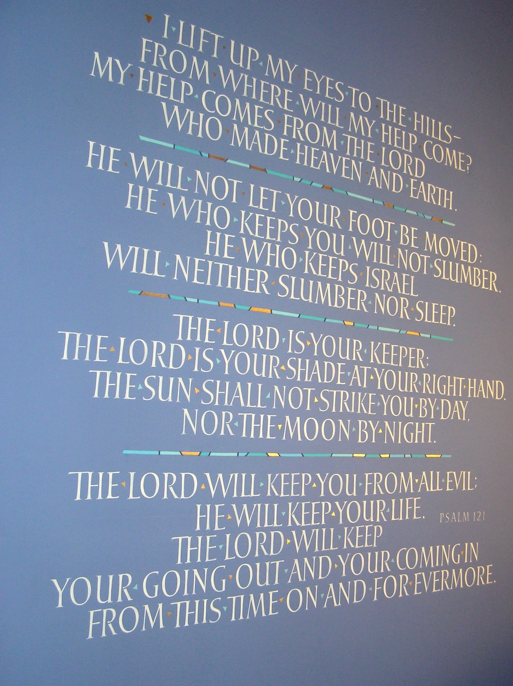 Psalm on the wall of the prayer chapel at Chelsea Methodist Church.