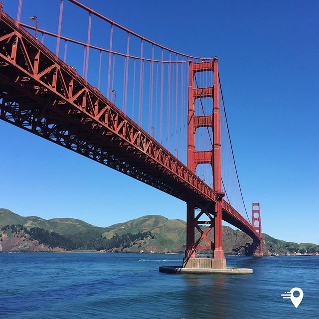 Golden Gate closeup 🌁 #sanfrancisco  Are you a frequent traveller? Have you tried the instabouts app yet? Add your plans, select your chosen contacts and we will let you know who is around or nearby- simple as that! It's easy to use, private and secure.  #makingmeetingeasier⁣ #goldengatebridge #travel #imabouts #travelapp #lovetotravel #travelphotography #travelgram #bluesky #bridge