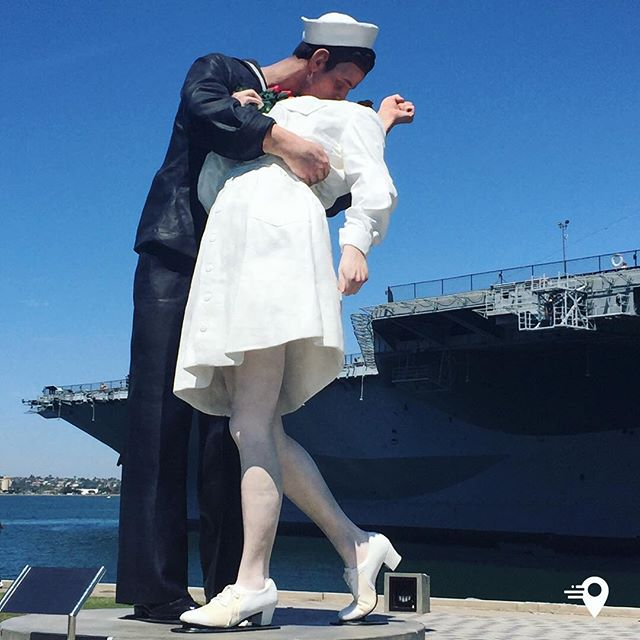 """Unconditional Surrender Sculpture, or """"Kissing staute""""💋in San Diego, California🇺🇸  🤓💡The statue was based on a famous photograph taken on August 14th 1945 in New York. With World War II finally over, New York went crazy in celebration. This whirlwind of a moment was captured in two, nearly identical, shots by Albert Eisenstaedt, and Lt. Victor Jorgensen.  Artist J. Seward Johnson saw a way to bring it to life in his own unique style and produced a series of foam and urethane versions of the kissing couple called """"Unconditional Surrender,"""" with one of them landing in San Diego's Tuna Harbor Park in 2007.   While the majority of the installations have been temporary, San Diego fell in love with its couple, and when the foam version had run its course they decided to buy a permanent bronze. The million dollar price tag was raised quickly with donations to the USS Midway Museum, and the new statue was installed in 2013 at the Port of San Diego's Greatest Generation Walk.  Read more: www.atlasobsura.com  #instawisdom #imabouts #travel #travelphotography #travelphoto #sandiego #california #unconditionalsurrender #kiss #harbour #frequentflyer #frequenttraveller"""