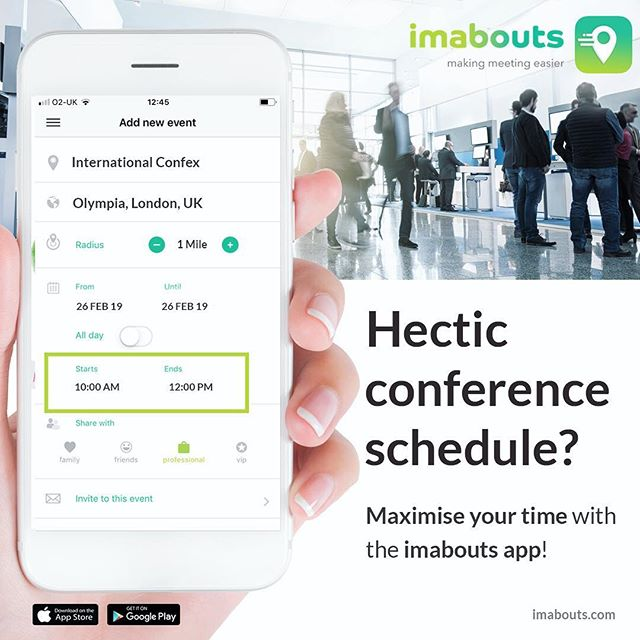Are you attending a conference or a convention? ⁣ ⁣ You don't always know who's going to be there and even if you do, finding time to meet up can be difficult. Maximise your time with imabouts app and make meeting your contacts easier! ⁣ ⁣ Add your plans, select your chosen contacts, and we'll let you know who is about and when- simple as that! ⁣ ⁣ ⁣ #im⁣abouts #confex #london #londonolympia #makingmeetingeasier #travel #business #businesstrip #businesstravel #businesstraveller #convention #meetup #schedule #time