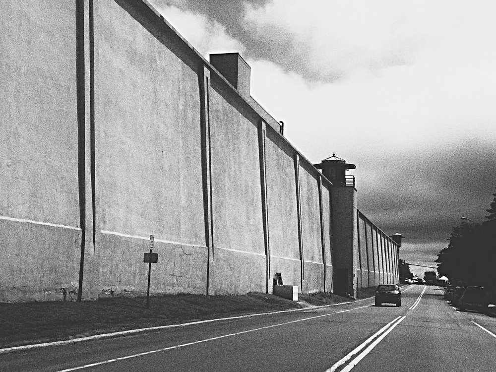 Clinton Correctional Facility's perimeter wall.  (Chelsia Rose Marcius/June 19, 2015)