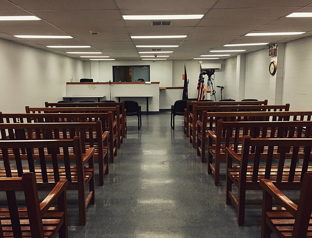 Clinton County Court in Plattsburgh, N.Y. hours before Clinton Corrections Officer Eugene Palmer is charged with promoting prison contraband, official misconduct, and tampering with evidence after trying to destroy paintings from Richard Matt in exchange for tools.  (Chelsia Rose Marcius/June 25, 2015)