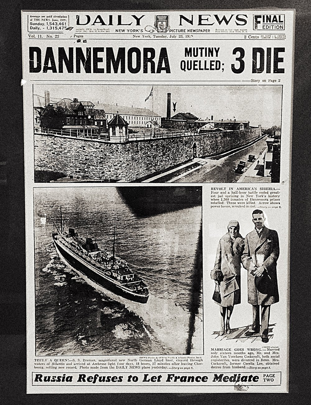 "The front page of the New York Daily News July 23, 1929, that reported of a prisoner mutiny in Dannemora. Image courtesy of historian Walter ""Pete"" Light for the Museum at the Dannemora Free Library.  (Chelsia Rose Marcius/June 17, 2015)"