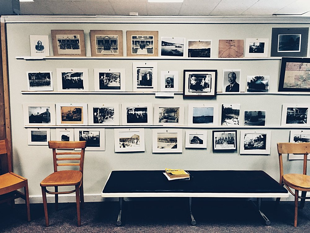 "Photographs of Dannemora and Clinton Prison, curated by historian Walter ""Pete"" Light for the Museum at the Dannemora Free Library.  (Chelsia Rose Marcius/August 14, 2016)"