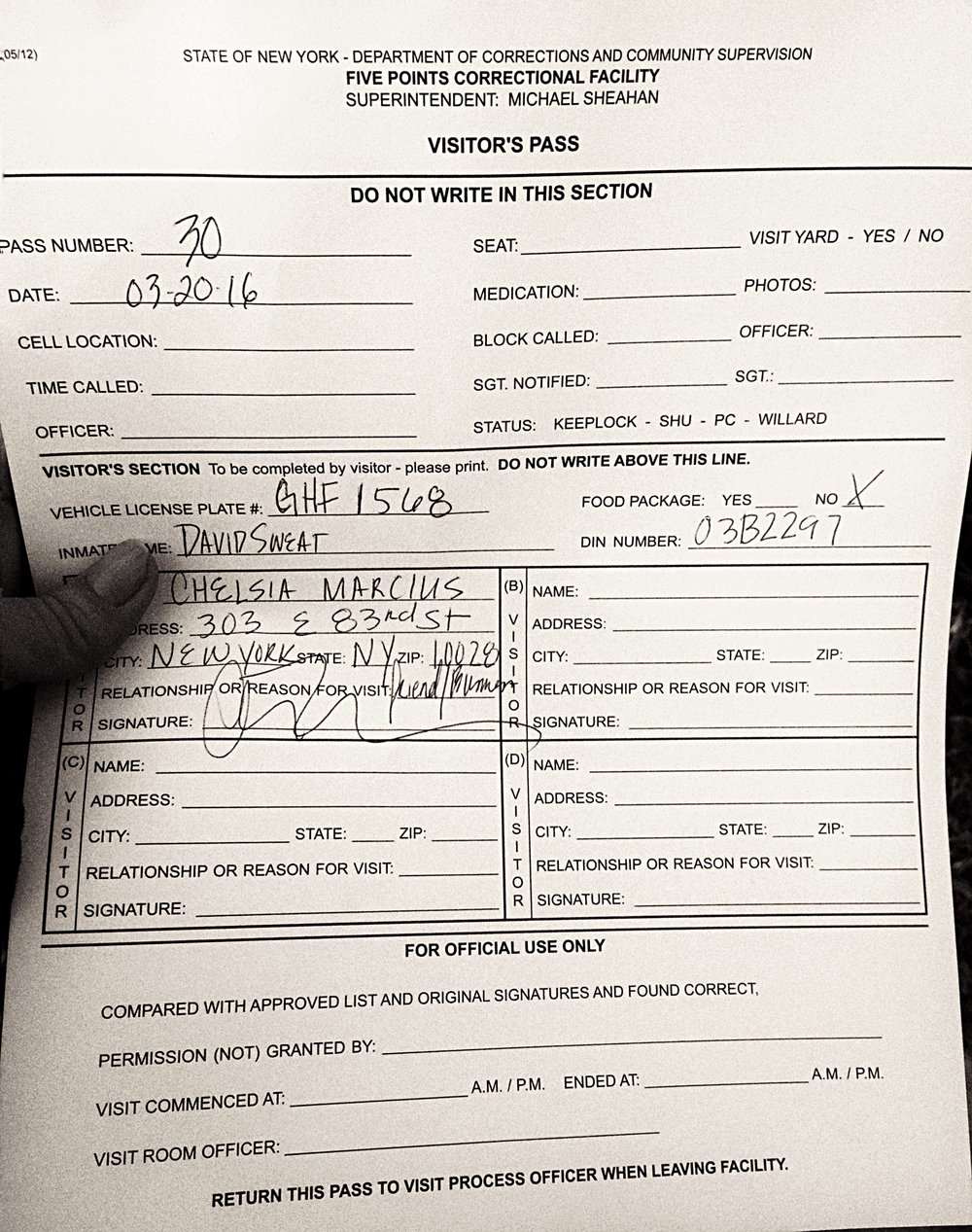 A form Chelsia filled out at Five Points Correctional Facility to visit inmate, David Sweat.  (Chelsia Rose Marcius/March 20, 2016)