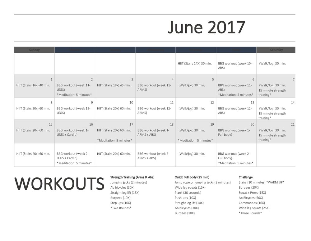 June Refresh Series Workout Calendar + Workout Ideas