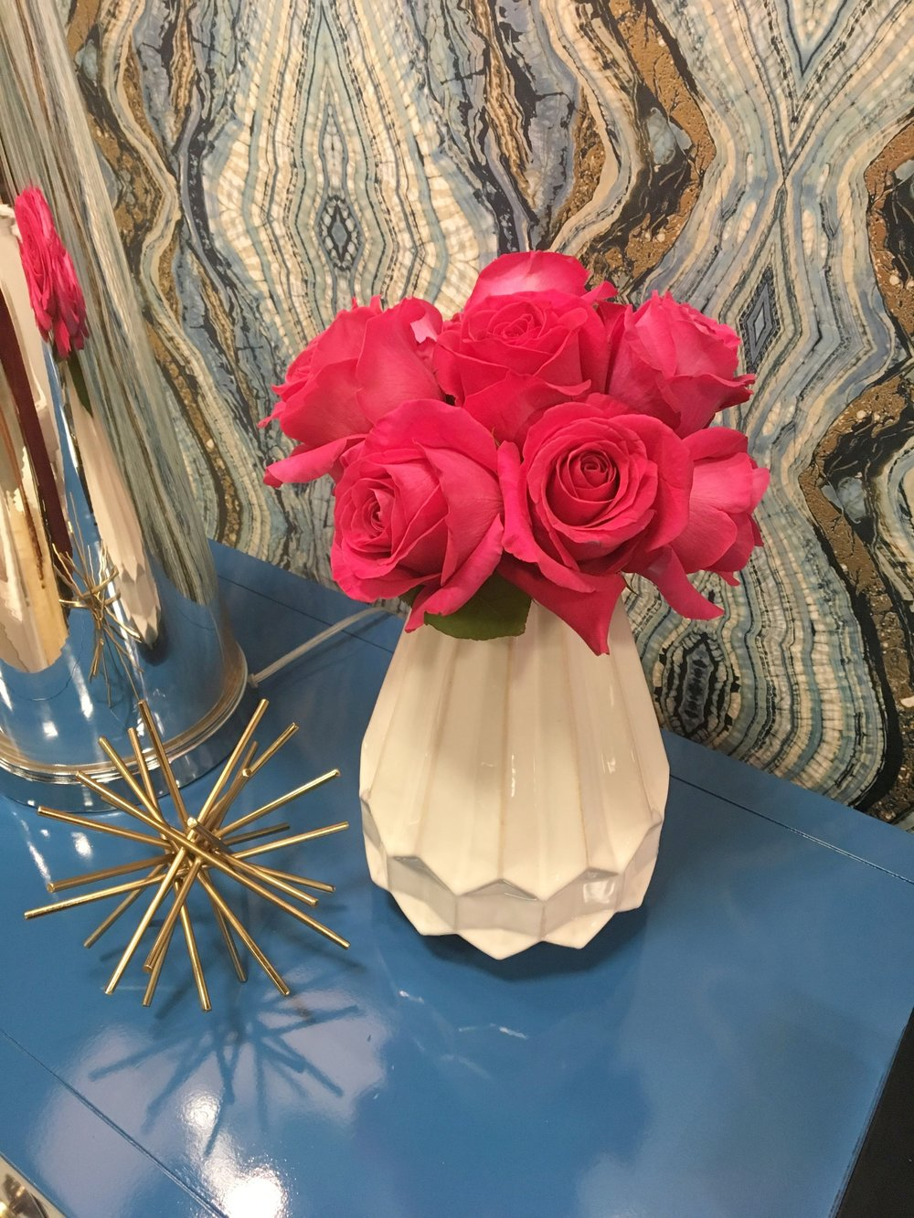 FINDS specializes in creating a high lacquer on vintage pieces, and they were so gracious to create this one for us in Sherwin William's Adriatic Blue