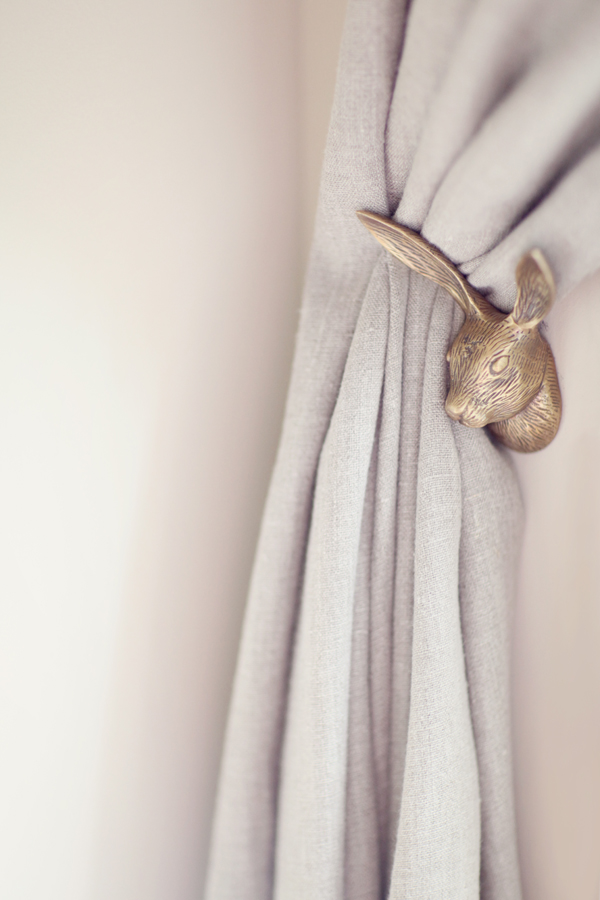 Source   Small details like this bunny curtain hook really make the difference in creating an extra special nursery.