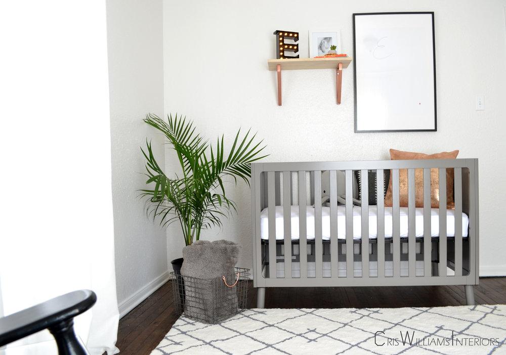 A simple, modern and gender neutral nursery.