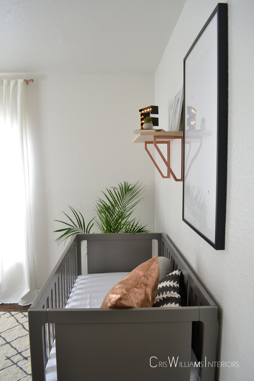Copper accents tie the space together.