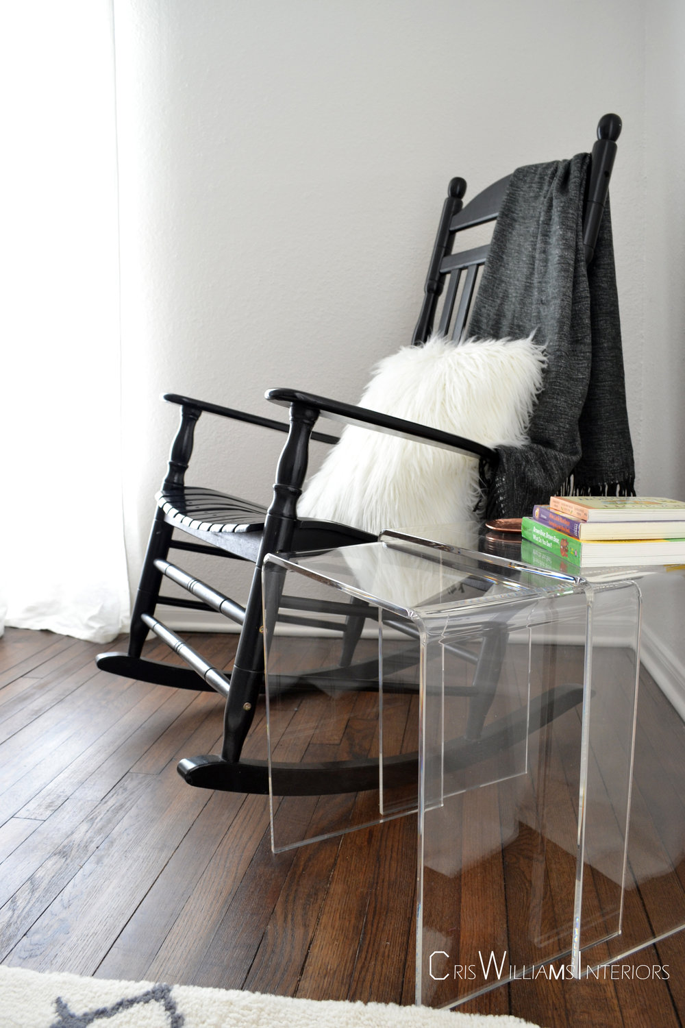 These Lucite nesting tables are a favorite in the nursery.