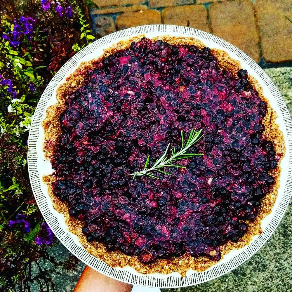 No bake needed raw Wild Blueberry pie - Vegan Gluten free recipes at Health Alchemist Training
