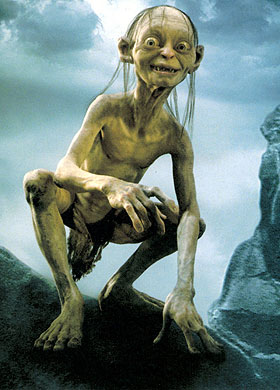 That's some nasty spinal flexion Gollum. No wonder you're so grumpy. Your back hurts