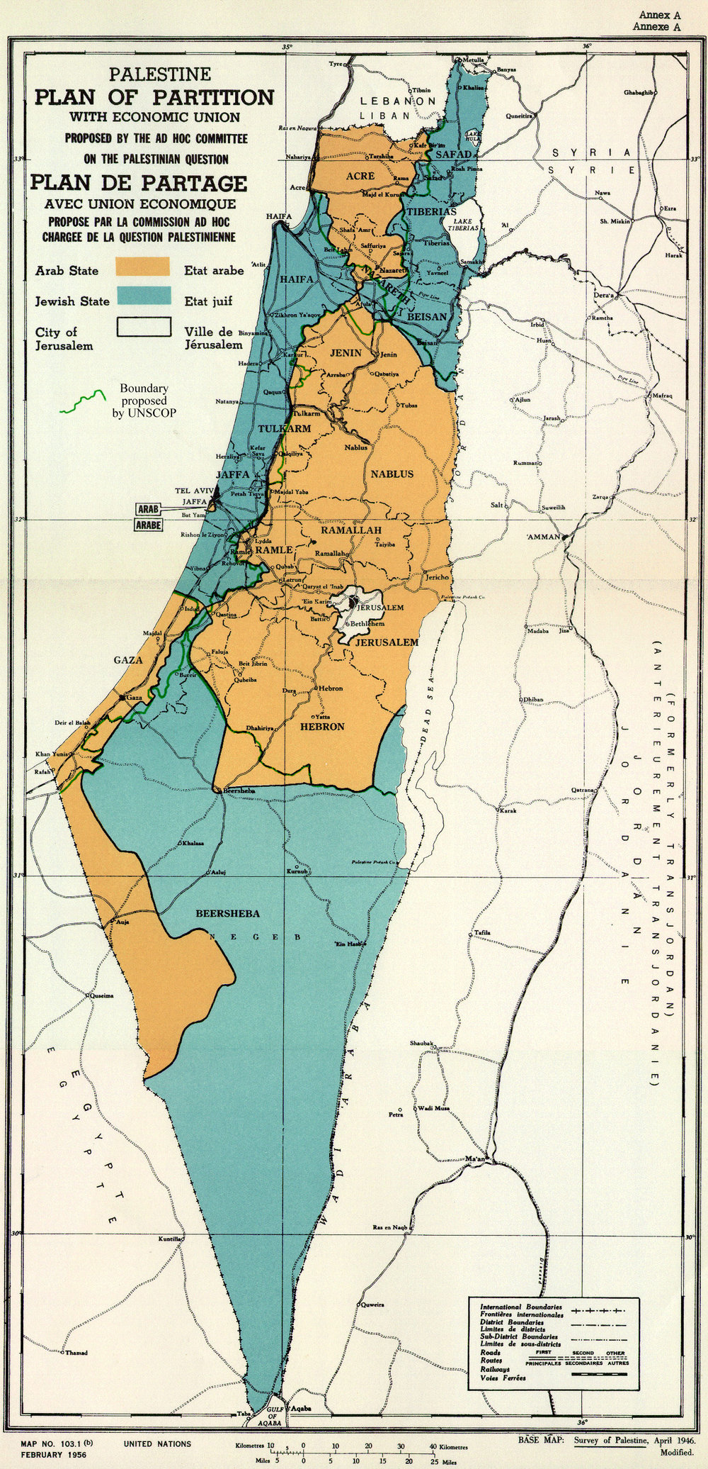PLAN OF PARTITION is from UNGA Resolution 181 (27 Nov 1947). Overdrawn UNSCOP boundary is from United Nations Special Committee on Palestine, Report to the General Assembly, 3 Sep 1947, Volume II, A/364, Add. 1., [Public Domain, https://commons.wikimedia.org/w/index.php?curid=27649381]