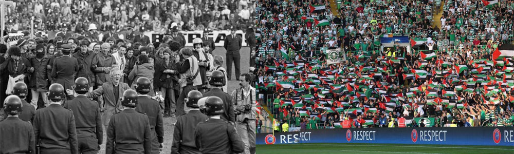 On left: Anti-apartheid activists protest South Africa's Springboks team tour in New Zealand, 1981 (Phil Reid). On right: Scottish fans wave Palestinian flags at a match between their hometown Glasgow Celtic and Israeli team Hapoel Be'er-Sheva, 2016 (Facebook).