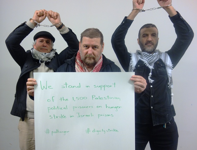 AFOPA's Adelaide activists send their solidarity message to the Palestinian prisoners in Israeli prisons who began a mass hunger strike in April 2017. #PalHunger #DignityStrike [Photo: AFOPA M.Cassar]