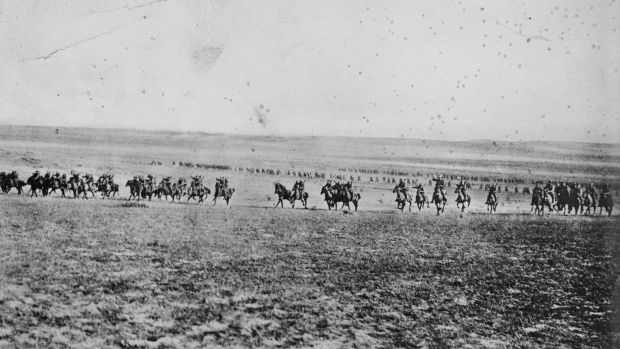 A photograph once believed to depict the charge of the 4th Light Horse Brigade at Beersheba on October 31, 1917. It is now believed to have been taken by photographer Frank Hurley in February 1918.  Photo: Australian War Memorial.