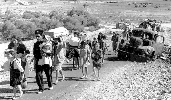 Refugees fleeing by road and truck