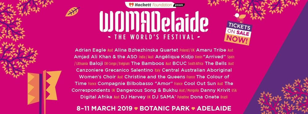 WOMADelaide tickets available via their website - click image above.