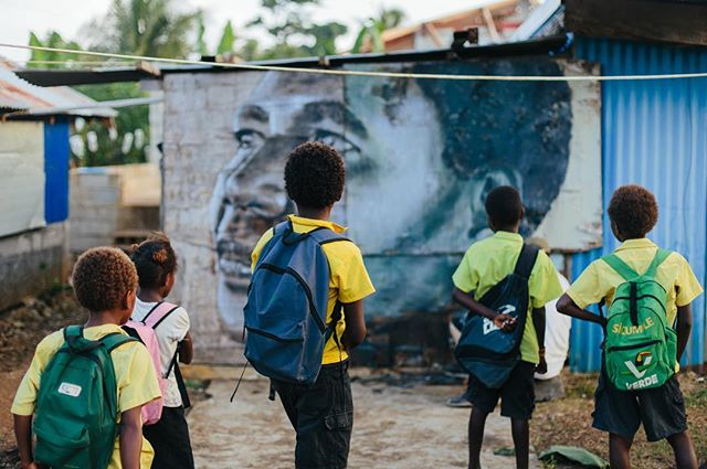School kids in Vanuatu finding one of  @r_o_n_e s walls. #artequalsadventure #followthewanderers #thewanderers #art #adventure #muralism #streetart #rone #vanuatu @abc_arts @abciview @screen_qld @screenaustralia 📷@callie_marshall