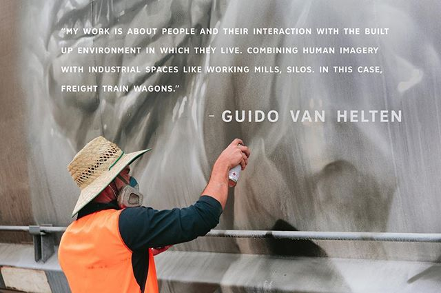 Anyone watching Wanderers this weekend?@guidovanhelten at work in Manildra, NSW. #artequalsadventure #followthewanderers #thewanderers #art #adventure #muralism #streetart  @abc_arts @abciview @screen_qld @screenaustralia 📷@callie_marshall