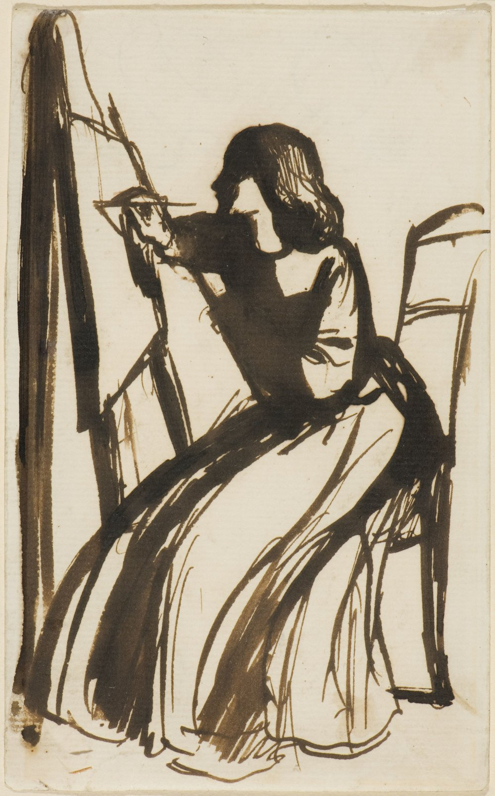 Rossetti's pen and ink sketch of Lizzie Siddal at her easel. She later became his wife.