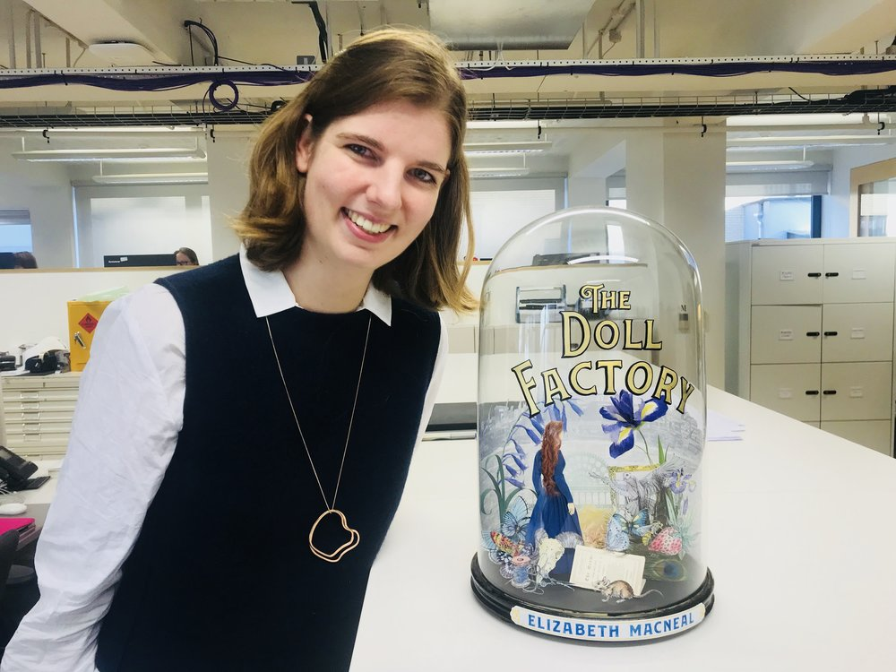 Me standing next to the real bell jar which was created for the UK cover. It was filled with hand-drawn illustrations from the book.