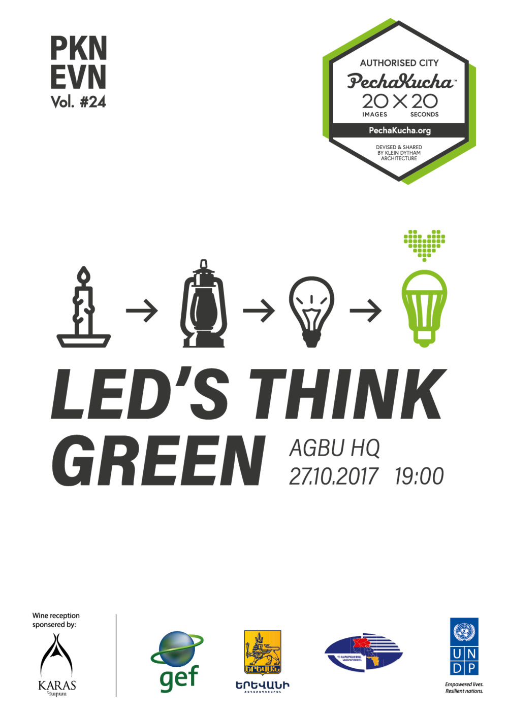 Vol. 24 - LED's Think Green - Armenia's environmental community on developing a green city, running efficient energy technologies and creating a great environment for everybody.Poster by Peno Mishoyan / Proper