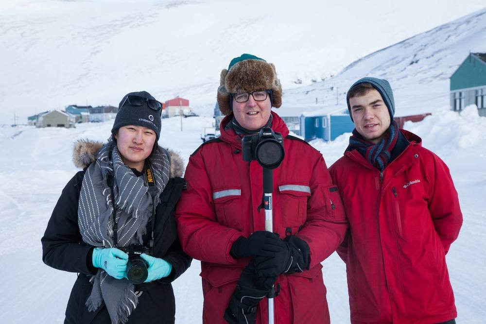 Eva Wu, Eric Foss, and Patrick Hickey out in Kangiqsujuaq.