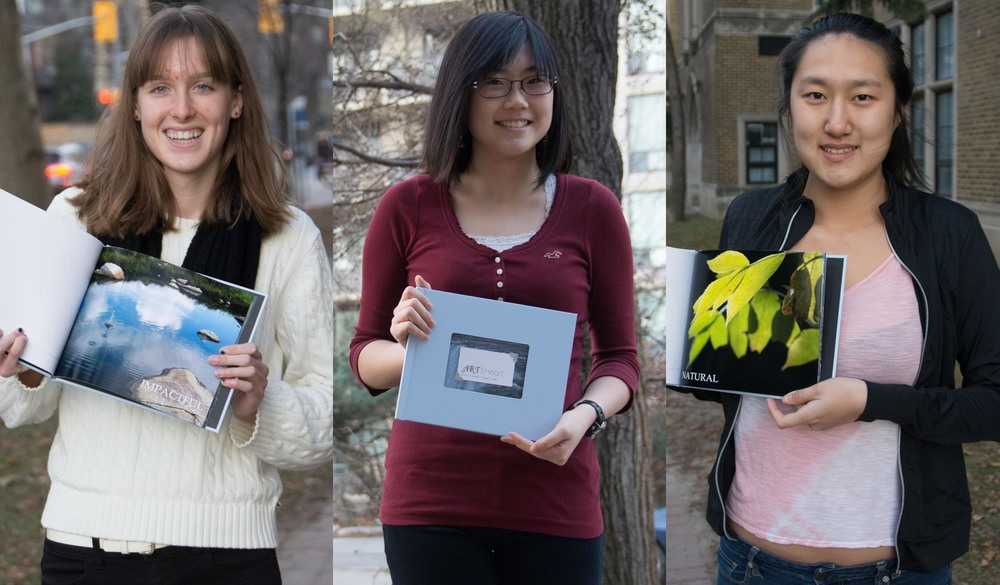 Gabrielle Foss, Jennifer Xu, and Eva Wu with the books for the Mishkeegogamang community!