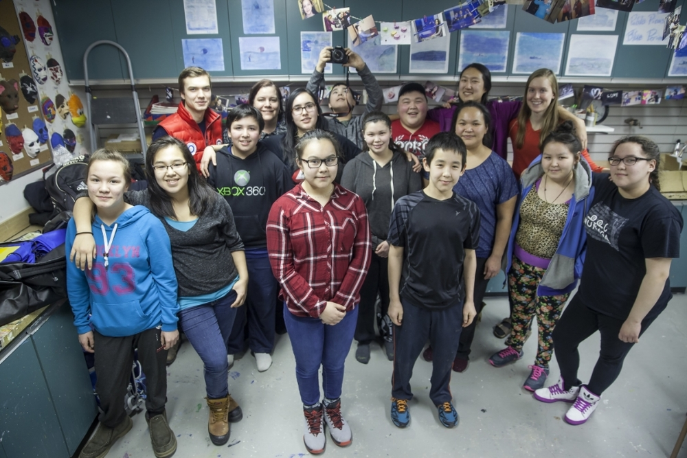 Students from the Kangiqsujuaq Northern Lights Project. Photo by Eric Foss.