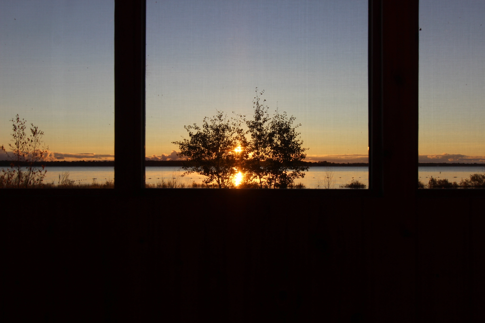 Sunset from Cabin 1 (Sable) at Beausoleil Island, Georgian Bay Islands National Park. Photo courtesy of Teddie Leung.