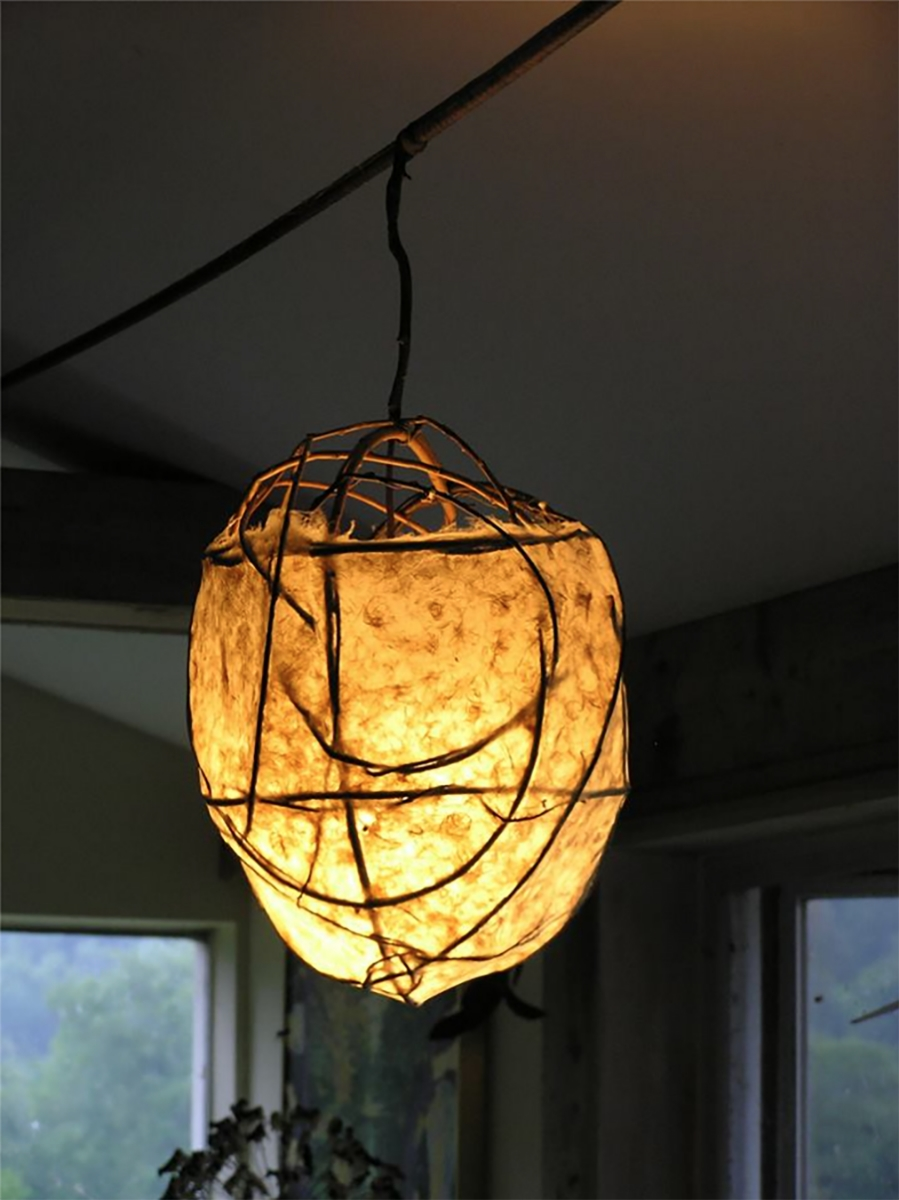 Anita's organic style handmade paper lamp in place at her home.