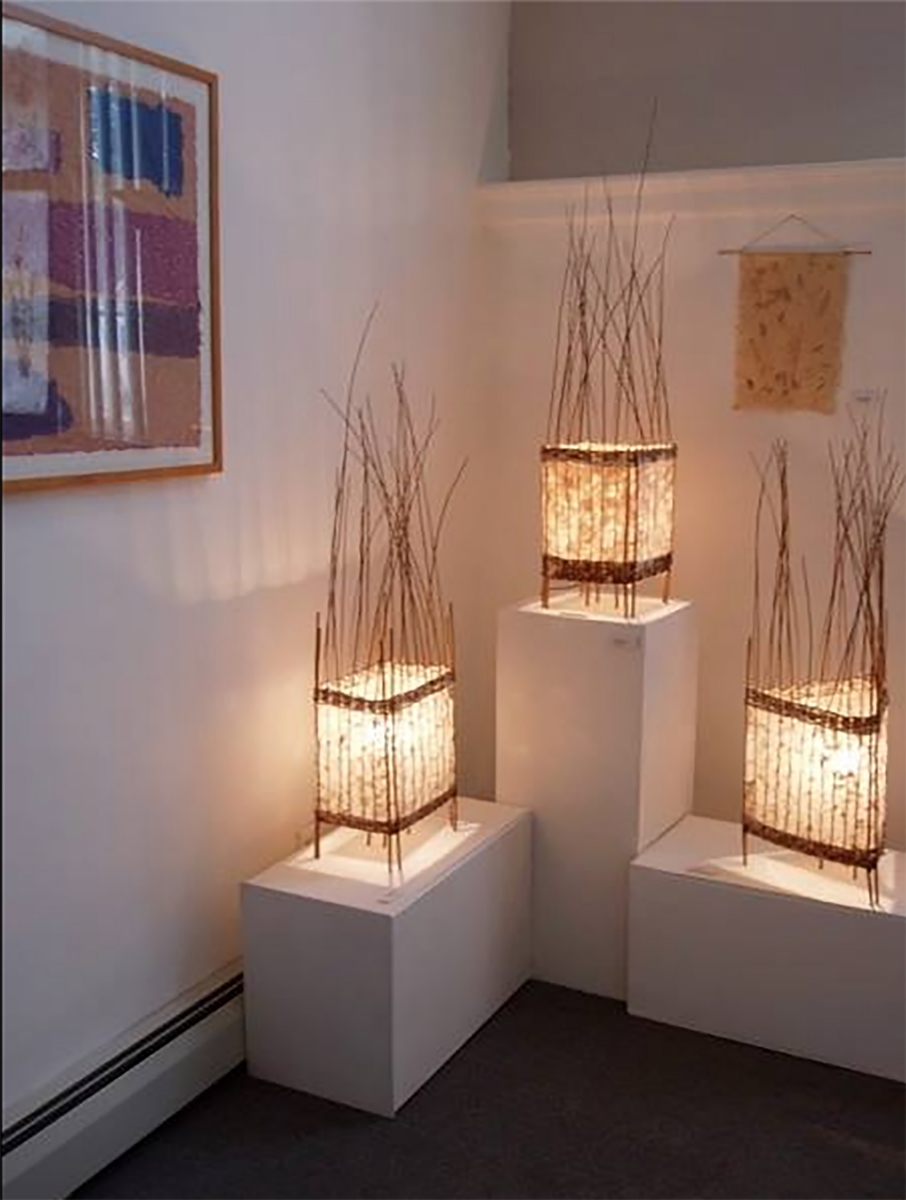 Lamps by Bonnie Gale on exhibit.